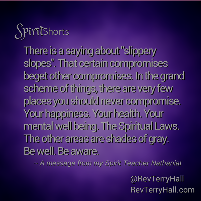 "There is a saying about ""slippery slopes"". That certain compromises beget other compromises. In the grand scheme of things, there are very few places you should never compromise. Your happiness. Your health. Your mental well being. The Spiritual Laws. The other areas are shades of gray. Be well. Be aware. from nathanial"