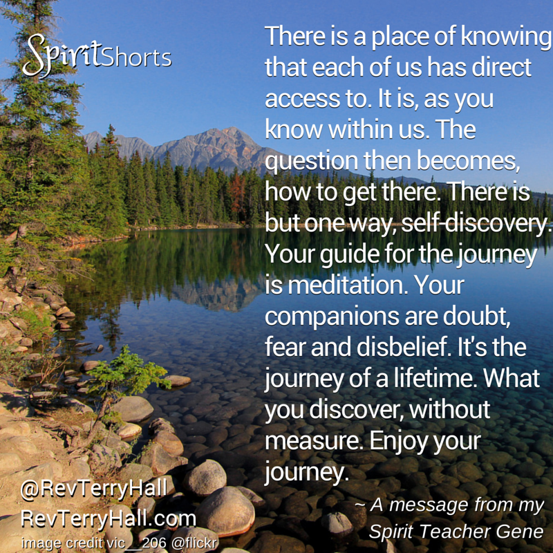 There is a place of knowing that each of us has direct access to. It is, as you know within us. The question then becomes, how to get there. There is but one way, self-discovery. Your guide for the journey is meditation. Your companions are doubt, fear and disbelief. It's the journey of a lifetime. What you discover, without measure. Enjoy your journey.