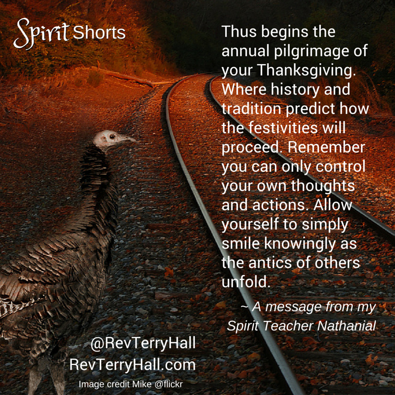 Thus begins the annual pilgrimage of your Thanksgiving. Where history and tradition predict how the festivities will proceed. Remember you can only control your own thoughts and actions. Allow yourself to simply smile knowingly as the antics of others unfold.