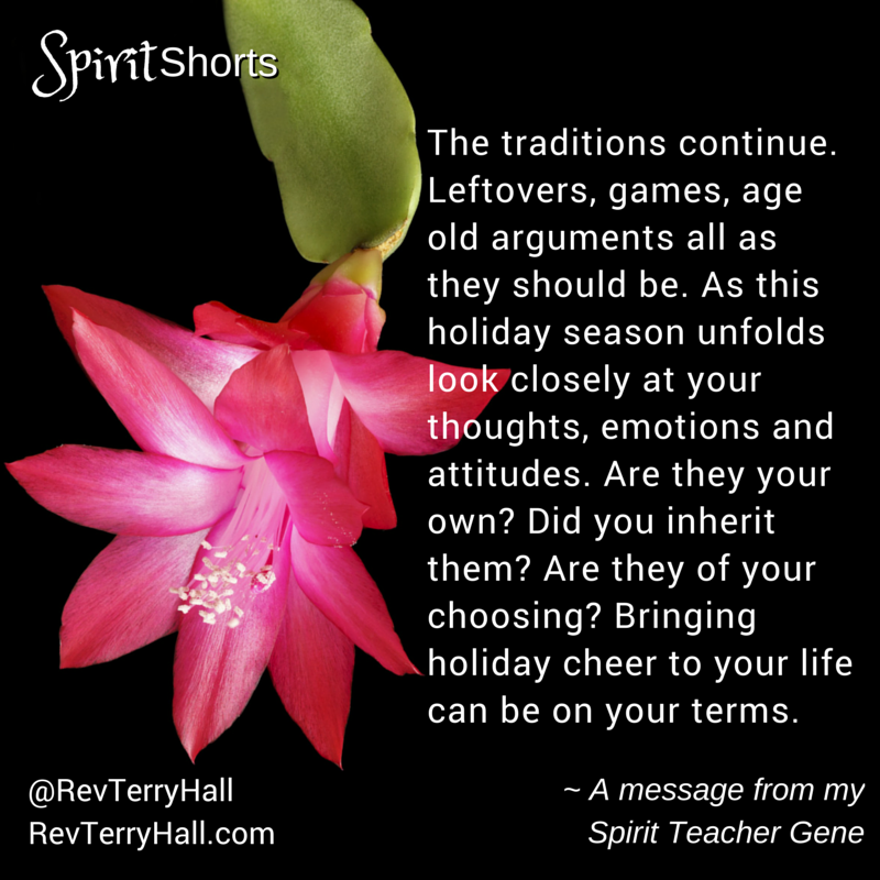 The traditions continue. Leftovers, games, age old arguments all as they should be. As this holiday season unfolds look closely at your thoughts, emotions and attitudes. Are they your own? Did you inherit them? Are they of your choosing? Bringing holiday cheer to your life can be on your terms.