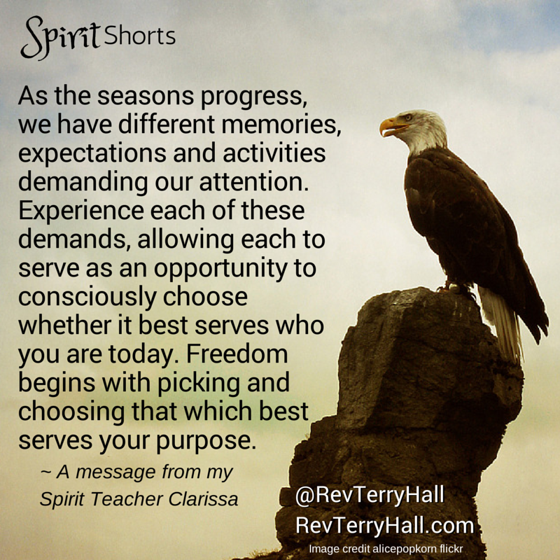 As the seasons progress, we have different memories, expectations and activities demanding our attention. Experience each of these demands, allowing each to serve as an opportunity to consciously choose whether it best serves who you are today. Freedom begins with picking and choosing that which best serves your purpose.
