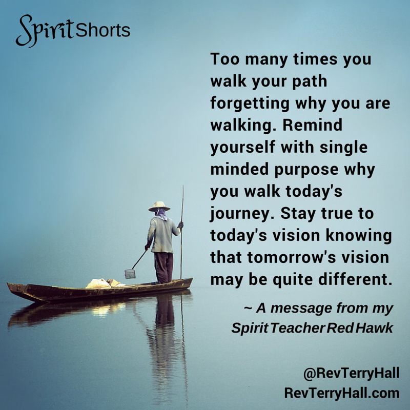 Too many times you walk your path forgetting why you are walking. Remind yourself with single minded purpose why you walk today's journey. Stay true to today's vision knowing that tomorrow's vision may be quite different.