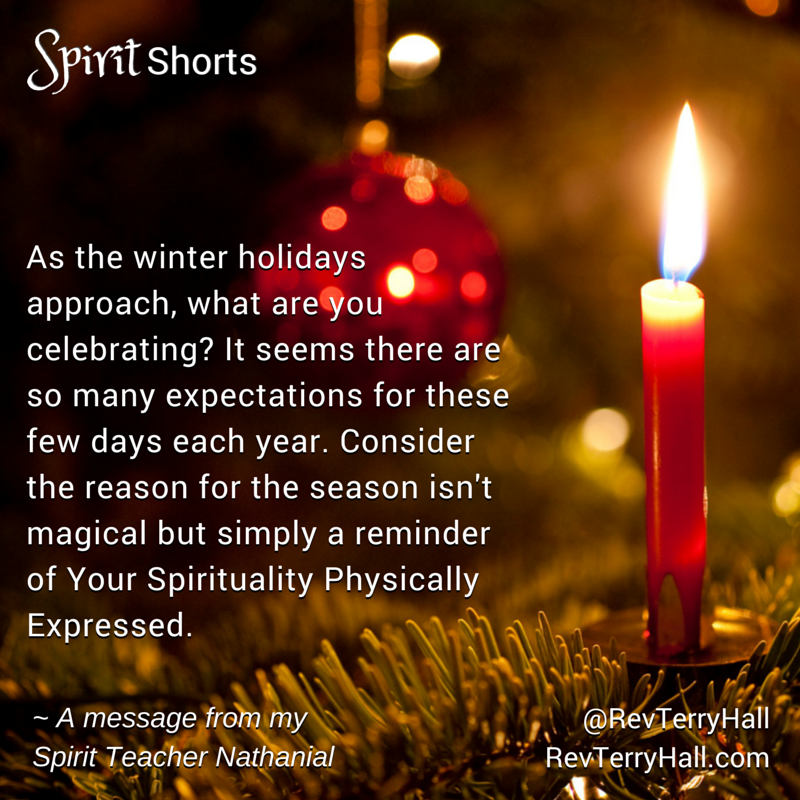 As the winter holidays approach, what are you celebrating? It seems there are so many expectations for these few days each year. Consider the reason for the season isn't magical but simply a reminder of Your Spirituality Physically Expressed.