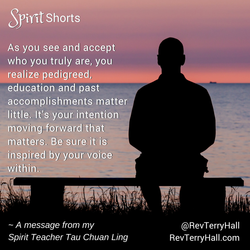 As you see and accept who you truly are, you realize pedigreed, education and past accomplishments matter little. It's your intention moving forward that matters. Be sure it is inspired by your voice within.