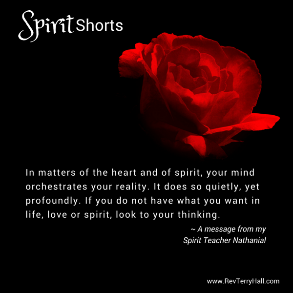 In matters of the heart and of spirit, your mind orchestrates your reality. It does so quietly, yet profoundly. If you do not have what you want in life, love or spirit, look to your thinking.