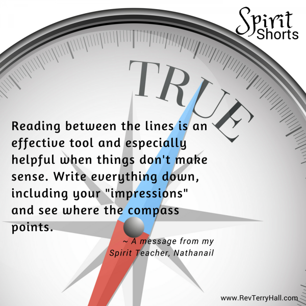 "Reading between the lines is an effective tool and especially helpful when things don't make sense. Write everything down, including your ""impressions"" and see where the compass points."