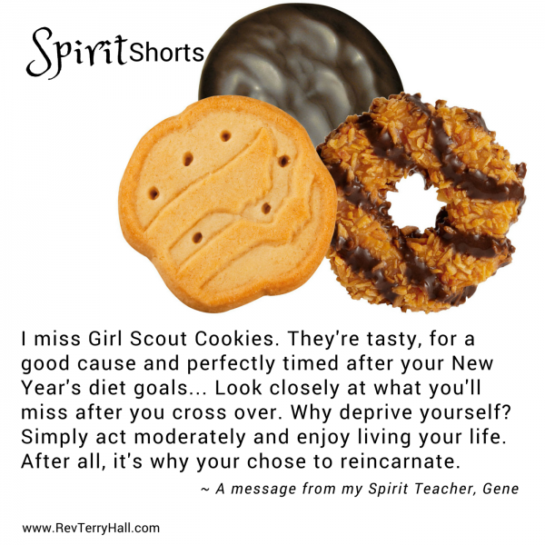I miss Girl Scout Cookies. They're tasty, for a good cause and perfectly timed after your New Year's diet goals... Look closely at what you'll miss after you cross over. Why deprive yourself? Simply act moderately and enjoy living your life. After all, it's why your chose be reincarnate.