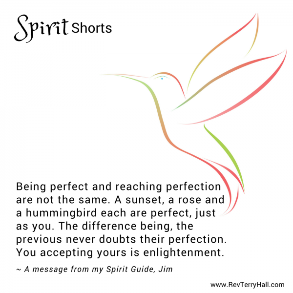 Being perfect and reaching perfection are not the same. A sunset, a rose and a hummingbird each are perfect, just as you. The difference being, the previous never doubts their perfection. Your accepting yours is enlightenment.