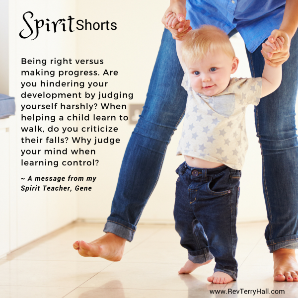 Being right versus making progress. Are you hindering your development by judging yourself harshly? When helping a child learn to walk, do you criticize their falls? Why judge your mind when learning control?