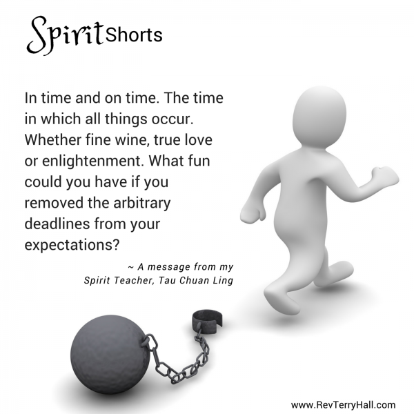 The time in which all things occur. Whether fine wine, true love or enlightenment. What fun could you have if you removed the arbitrary deadlines from your expectations?