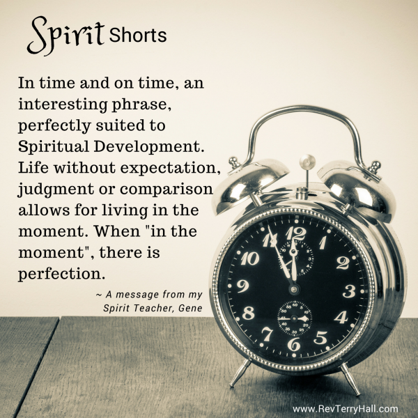 "In time and on time, an interesting phrase, perfectly suited to Spiritual Development. Life without expectation, judgment or comparison allows for living in the moment. When ""in the moment"", there is perfection."